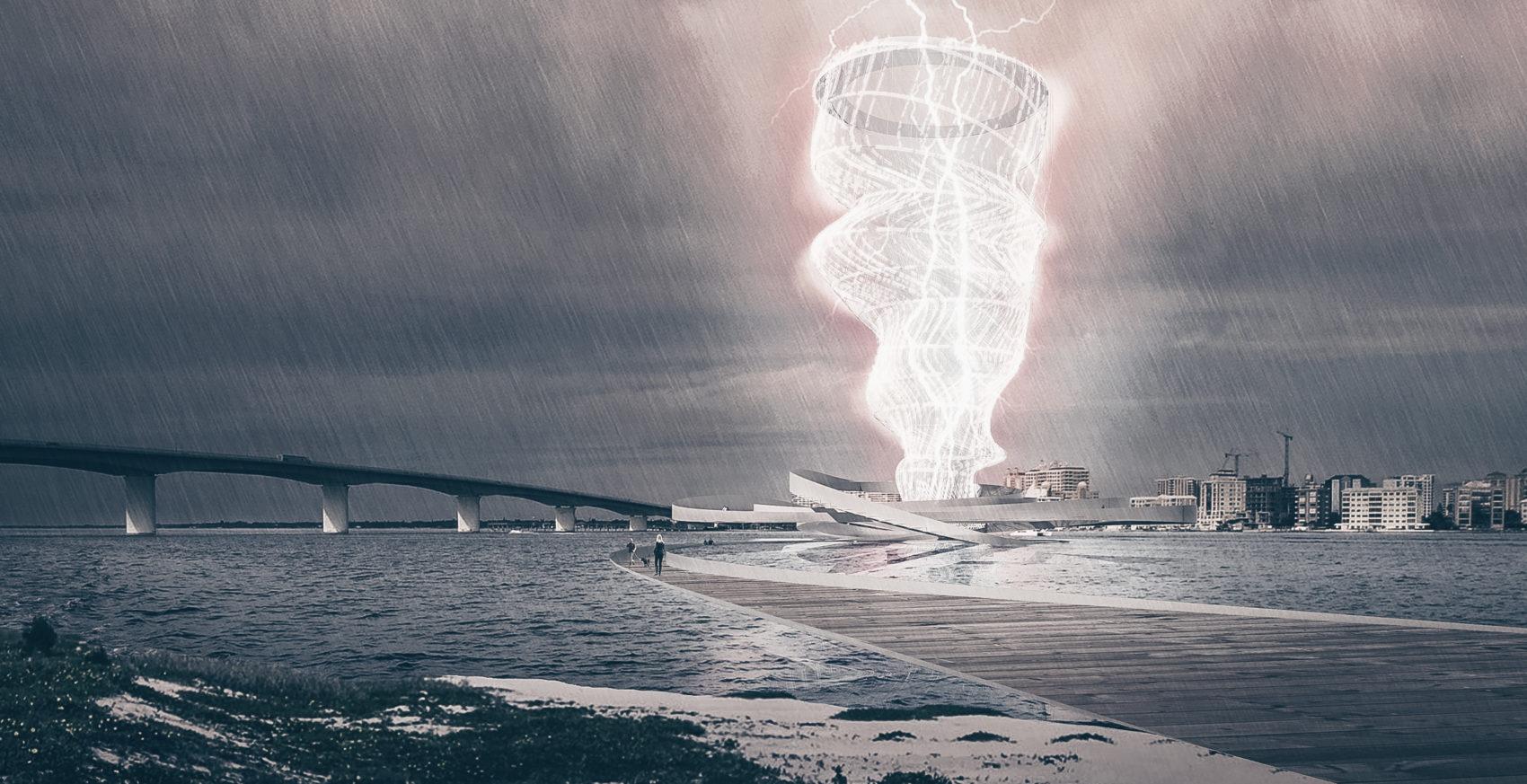 Vortex Generator, генерирующий энергию от разрядов молнии, от Brooks + Scarpa