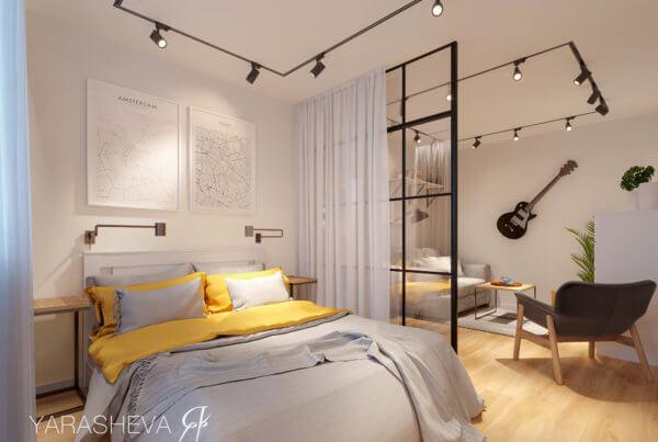 дизайн интерьера гостиной-спальни