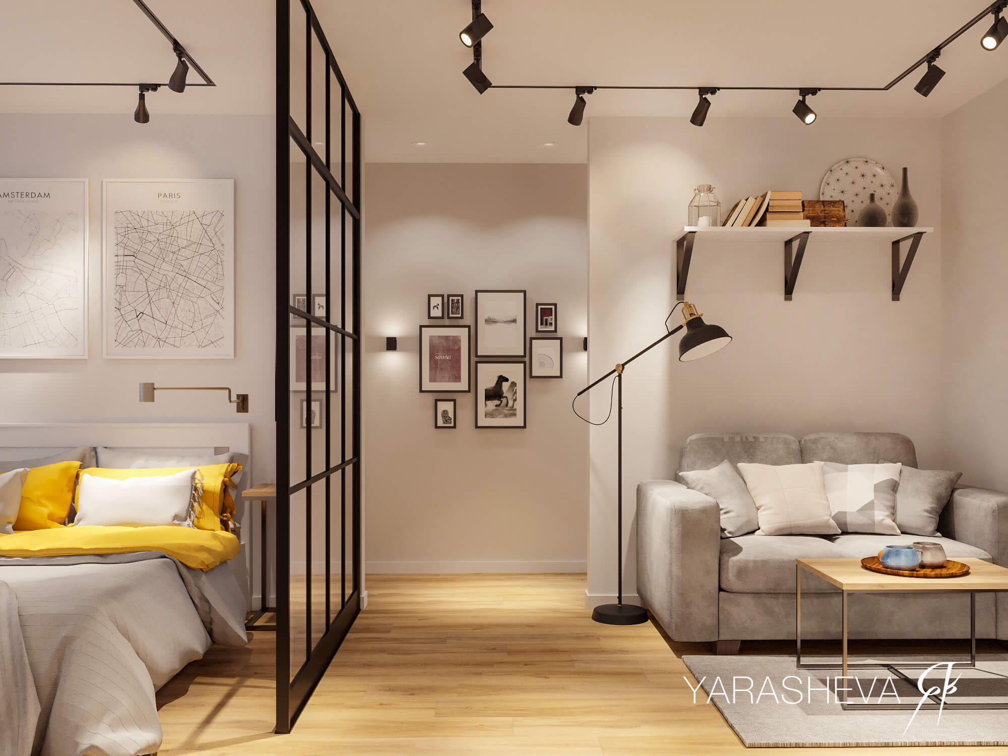 interior design of a living room-bedroom